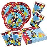 52-piezas juego de partido Bombero Sam - Plato Vaso Servilletas para 16 Niños