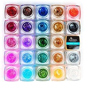 24 Bouteilles 8ml Glitter Gel UV de Couleur (0.25Oz, Soak Off, Gel de Couleur pour Ongles, Nouveau)