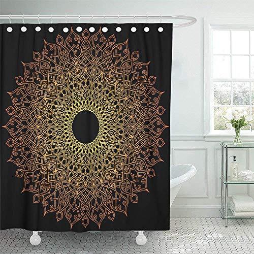 Tenda da Doccia Impermeabile Arancione arabesco Mandala Rotonda su Disegno Nero Geometria Zen Stile Indiano Decorazioni per la casa Set di Ganci Regolabili in Tessuto di Poliestere