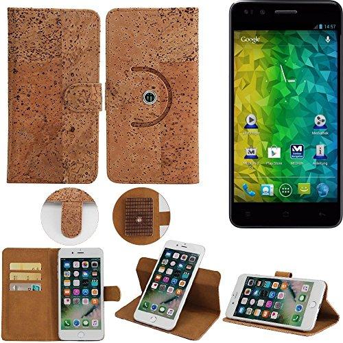 K-S-Trade Schutz Hülle für Medion Life P5004 Handyhülle Kork Handy Tasche Korkhülle Schutzhülle Handytasche Wallet Case Walletcase Flip Cover Smartphone