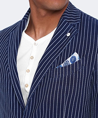 LBM 1911 Hommes veste rayée de coton Marine & Crème Marine & Crème