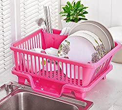 Dreamworld 3 in 1 Kitchen Sink Dish Drainer Drying Rack Washing Holder Basket Organizer Tray 45 X 24 X 14 cm (Pink)