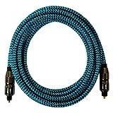 [i!®] 10m Premium Nylon Toslink Kabel | Toslink Stecker auf Toslink Stecker | Optisches Digital Audiokabel LWL HIFI | blau