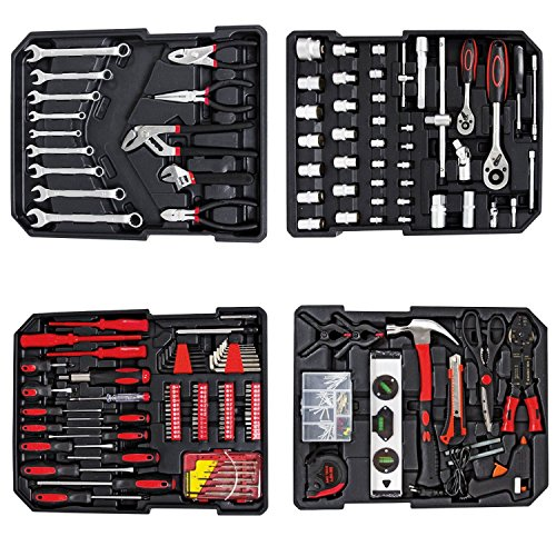 Todeco   Caja de Herramientas  Kit de Herramientas Completo   Tamaño: 50 x 37 x 23 cm   Material: Acero carbono   con caja de aluminio y mango telescópico  251 herramientas