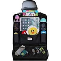 SURDOCA Car Organiser Car Seat Organiser 4th Generation Enhanced Car Organiser Back Seat for up to 10.5 iPad, 9 Pockets, Kids Toy Storage, Water Proof Back Seat Protector for Kids, Black,1pc