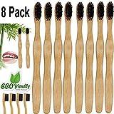 Semoss 8 Stücke Natürlich und Weich Bambus Zahnbürste Vegan Umwelt Holzzahnbürste Set Naturborsten,Mittel,BPA und Plastik freie Schwarz