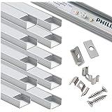 Starlandled-profiel breed, aluminium kanaal, 10 stuks met complete montageaccessoires voor maximaal 16 mm ledstriplicht, perf
