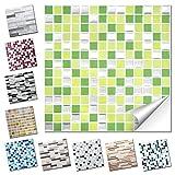 Wandaro 4er Set Fliesenaufkleber 25,3 x 25,3 cm hellgrün grün Silber Design 27 I 3D Aufkleber Fliesenfolie Mosaik Bad Küche W3467