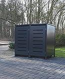 2 Mülltonnenboxen Modell No.6 für 120 Liter Mülltonnen / komplett Anthrazit RAL 7016 / witterungsbeständig durch Pulverbeschichtung / mit Klappdeckel und Fronttür