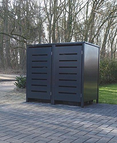 2 Mülltonnenboxen Modell No.6 für 120 Liter Mülltonnen / komplett Anthrazit RAL 7016 /...