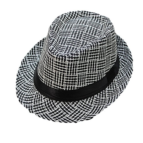 Lonshell_Damen Cap Fedora Hut Damen Herren Panama Sonnenhut Faltbarer Strohhut Trilby Gangster Hut mit Sonnenschutz breite Krempe (Kariert E)