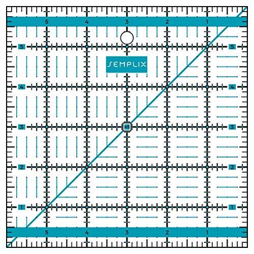 SEMPLIX Patchwork-Lineal Quilt-Lineal, transparent, mit inch Skala und Winkelfunktionen, ideal für Patchwork und zum Basteln, 6 x 6 inch (türkis)