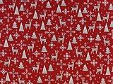 Weihnachtsstoff Hirsch & Co., rot , Meterware ab 0,5 m, /
