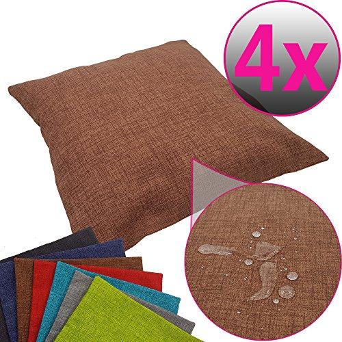 SET x4 Funda de cojín decorativa para exteriores 50 x 50 cm - Funda de cojín repelente al agua con efecto lotus (ideal como protección antimanchas) - Funda de almohada para interiores y exteriores, Color:Marrón