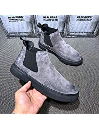 EAOJRSCSA Boots,Zapatos de tacón Alto de Invierno para Hombre,más Terciopelo,Botas