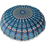 WYXlink Large Mandala Floor Pillows Round Bohemian Meditation Cushion Cover Ottoman Pouf 80 * 80cm (80 * 80cm, B)