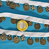 weiß Samtband mit Schmuck Münzen Tanz Karneval orientalisches Klimperband