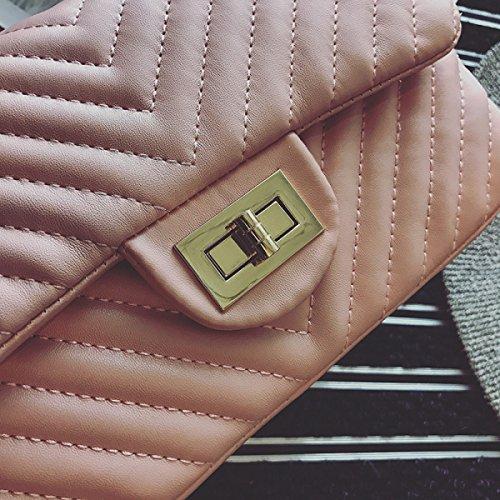 ZPFME Frauen Umhängetaschen Diamant Kette Tasche Umhängetasche PU Party Retro Bankett Mode Pink