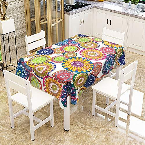 Qweasdzx tovaglia mandala per la stampa digitale tovaglia multiuso resistente all'acqua e all'acqua adatta per tovaglie quadrate vintage e da interno decorazione quadrata 140x240cm