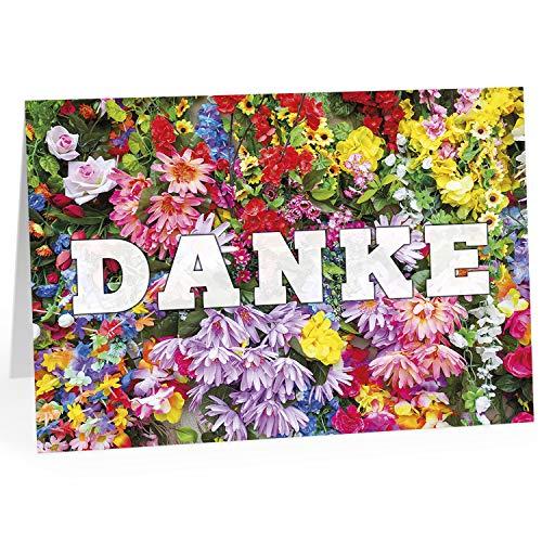 Große Dankeskarte XXL (A4) als Dankeschön/Viele Blumen als Foto/mit Umschlag/Edle Design Klappkarte/Danke sagen/Danksagung/Danke sehr/Extra Groß/Edle Maxi Gruß-Karte (Großes Danke-gruß-karten)