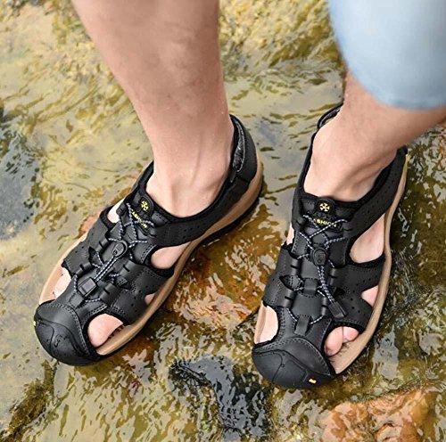 Pompa Uomini Punto chiuso Sport sandali Cavo Colore puro velcro coulisse Lacci delle scarpe Antiscivolo Piatto Sandali da spiaggia Scarpe casual sneaker Dimensioni Eu 38-46 Khaki