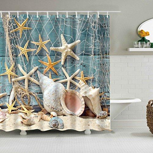 KAIDENG Bad Vorhang, Sea Shell Starfish und Fischernetze Design Polyester Stoff benutzerdefinierte Duschvorhang