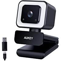 AUKEY FHD Webcam, 1080p 60fps Live Streaming Camera with Dual Stereo Microphones and LED Light, Desktop or Laptop USB…