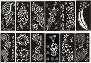 PACK of 12 Sheets Self-adhesive Henna Tattoo Stencils Template for Henna Tattoo Body Art Painting Glitter Tatt