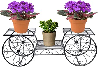 NAYAB HANDICRAFTS Wrought and Cast Iron Metal 3 Tiers Parisian Style Garden Cart & Flower Pot Plants Holder Display Rack (Black)