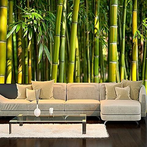 murando - Fototapete 300x210 cm - Vlies Tapete - Moderne Wanddeko - Design Tapete - Wandtapete - Wand Dekoration - Bambus Baum Bäume Bambusweld Natur Wald grün Asien Asia