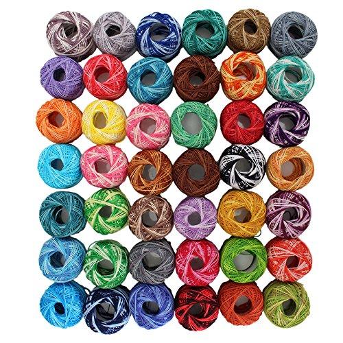 42 Rollen Häkelgarn Baumwollgarn Faden von Kurtzy- Streifen Design in einer Auswahl von Farben - Fäden für Muster, Projekte und Applikationen - 5 Gramm - 43 Meter Faden - Hochwertiges Material (Loom Knitting Tool)