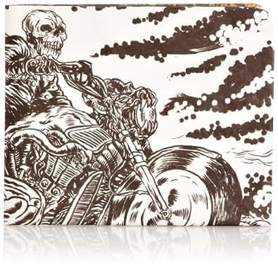 """Paperwallet - Portefeuille en Papier Tyvek Unisexe pour Homme et Femme - Motif Cavalier Fantôme """"Ghost Rider"""" Noir & Blanc par Alexis Ziritt - Vegan, Recyclable & Durable"""