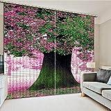 WKJHDFGB 3D Fenster Vorhänge Für Bettwäsche Zimmer Rosa Landschaft Vorhänge Für Wohnzimmer Dekoration 215X200Cm