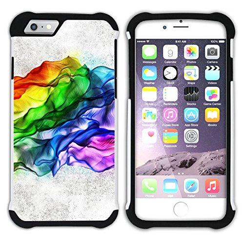 Graphic4You Regenbogen Farben Hart + Weiche Kratzfeste Hülle Case Schale Tasche Schutzhülle für Apple iPhone 6 / 6S Design #24