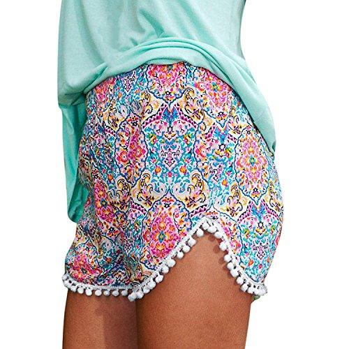 LAEMILIA Frauen Blumendruck-hohe Taille Shorts Sommer-Strand-Shorts Tassel Pants