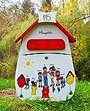 Briefkasten Familie, Holz, handbemalt, individuell (Weiß-Rot)