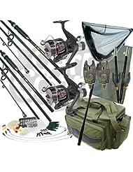 Kit de voyage pour pêche à la carpe de luxe 2x 3,4m 4 pièces 1,2 kg Articles de pêche en carbone