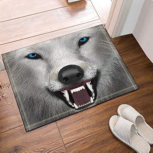 Gothic#90punk White Snow Fox Spitzen Zähnen blauen Augen Augen Badezimmertür Matte Anti-Rutsch-Boden Indoor-Eingangsmatte Kind 40X60CM Zubehör (Snow Gothic White)