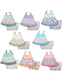 Kurtzy Girl Baby Pure Cotton Dress Cute Printed Frock Clothing with Nappies for New Born (0-6 Months) (Set of 8)