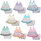 #7: Kurtzy Girl Baby Pure Cotton Dress Cute Printed Frock Clothing with Nappies for New Born (0-6 Months) (Set of 8)