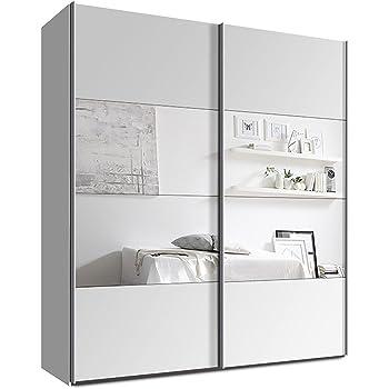 Schwebetürenschrank, Kleiderschrank, ca. 200 cm, Weiss mit Spiegel, Schiebetürenschrank