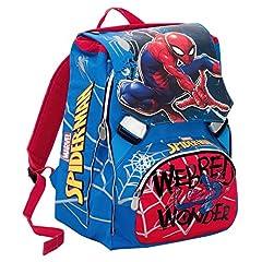Idea Regalo - Zaino Scuola Estensibile  Marvel ULTIMATE SPIDERMAN WEBBED WONDER- Rosso -28 Lt , Gadget incluso!