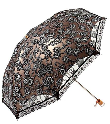 Honeystore Regenschirm, Automatik Taschenschirm Anti UV Regen/Sonne Spitze Regenschirm für Damen Schwarz