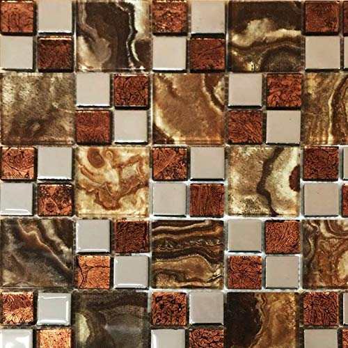 XEO Home Marble Steel Crystal Glass Square Mosaic Tiles Sheet Walls Floors Bathroom - Sheet of 30cm x 30cm