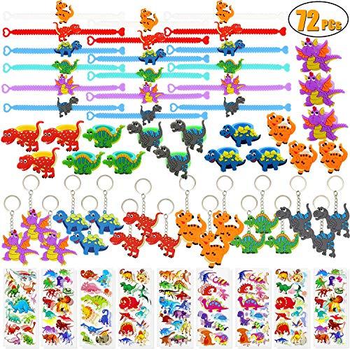 saurier Party Favors Dinosaurier Armbänder Ringe Schlüsselanhänger Aufkleber Spielzeug Preise Geschenk Karneval für Kinder Jungen Birthday Party Favor Supplies Goodie Bag Füllstoffe ()