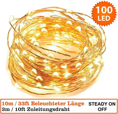 Lichterketten 100 Mikro LED Warmweiße Weihnachtliche Innen. Netzstrombetrieben LED feenhafte Lichter Ideal für Weihnachtsbaum Dekorationen LED Schnur Lichter - Kupferkabel