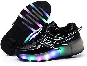 qmj Chaussures /À roulettes avec Roue Arri/ère R/étractable Patins /À roulettes Chaussures De Sport De Skateboard pour Gar/çons Filles Baskets Dext/érieur,Red-34 EU