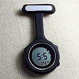Frauen Digital Krankenschwester Uhren, Nachtlichter Uhren Unisex Multi Funktion Silikon Krankenschwestern/Brosche / Tunika/Taschen / Karabiner,Black