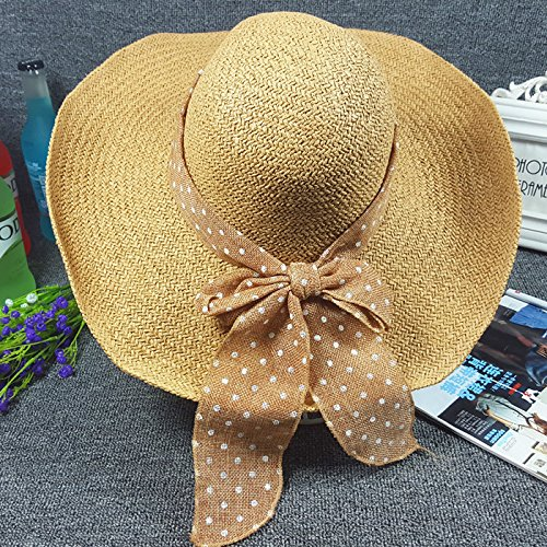 Baodery Die Sommer - Sonne - Hut Hut Hut Zwei Weibliche Han Sonne Sein Gesicht Bedeckt Beach Hut Hut Hut Rothschild.,M (56 Bis 58 Cm),Khaki Rothschild Hat