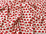 Elefanten Print Baumwolle Popeline Kleid Stoff rot auf,